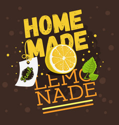 homemade lemonade typographic design with a branch vector image