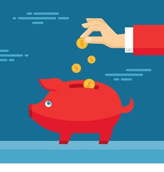 Human Hand and Moneybox Piggy vector image
