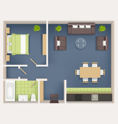 Interior plan top view realistic appartment vector