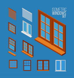 isometric windows set vector image