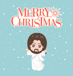 jesus christ in white clothes and merry christmas vector image