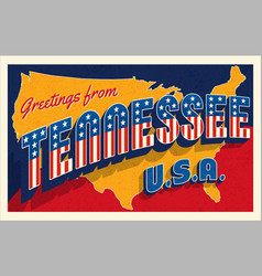 july 4th tennessee usa retro travel postcard vector image