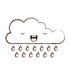 kawaii cloud with rain in monochrome blurred vector image