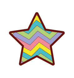 Line color star bright rainbow in the star design vector