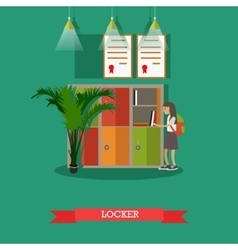 Locker and schoolgirl in vector