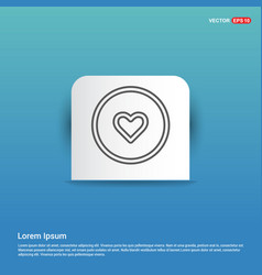love heart icon - blue sticker button vector image