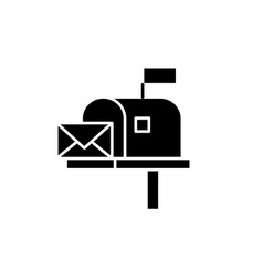 Mailbox black icon sign on isolated vector