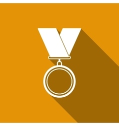 Medal flat icon with long shadow vector image