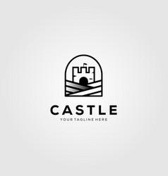 Minimalist castle vintage logo design vector