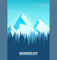 mountains poster nature landscape background with vector image
