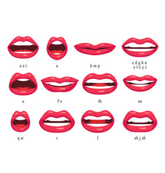 Mouth animation lip sync animated phonemes vector