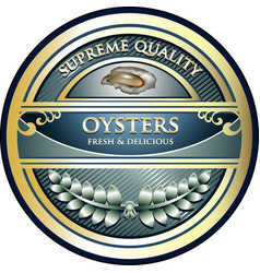 oysters gold label vector image