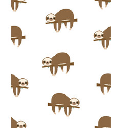 pattern with sloth hanging on tree vector image