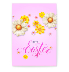 poster template for happy easter day 3d realistic vector image