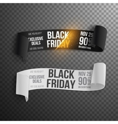 Realistic black friday sale ribbon banner set vector