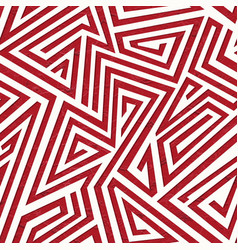 red maze geometric seamless pattern with grunge vector image