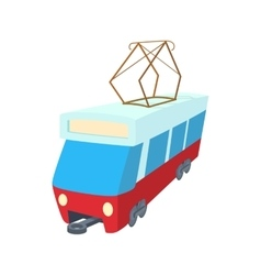 Red tram icon cartoon style vector