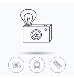 Retro camera TV remote and phone call icons vector image