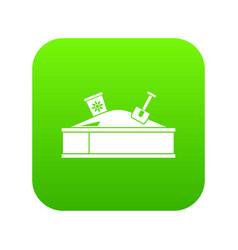 sandbox with bucket and shovel icon digital green vector image
