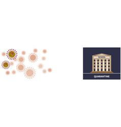 school quarantine concept on viral cells backdrop vector image