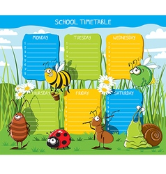 School timetable Insects vector image