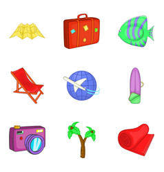Sea tourism icons set cartoon style vector