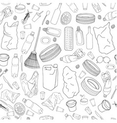 Seamless pattern with different kinds of garbage vector
