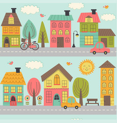 Seamless pattern with street of small town vector