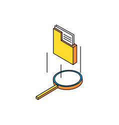 search magnifying glass with folders vector image