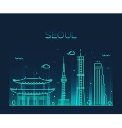 Seoul City skyline Trendy line art style vector image