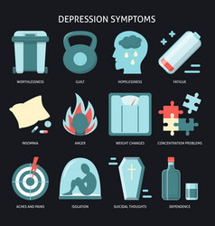 Set depression symptoms icons in flat style vector