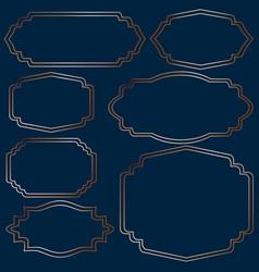 set of golden vintage frames on blue background vector image