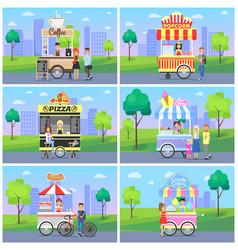 Set of mobile fast street food kiosks in city park vector