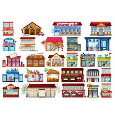 Set shop store vector