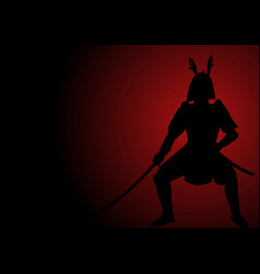 silhouette of an armored samurai vector image