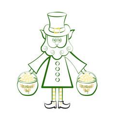 Sketch o f a irish elf with a gold coins pots vector