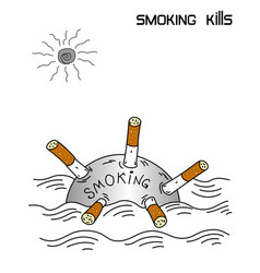 smoking kills conceptual banner vector image