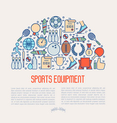 Sport equipment concept in half circle vector