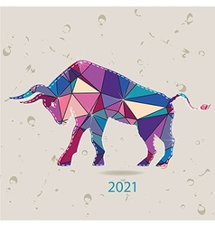 The 2021 new year card with Bull made of triangles vector image