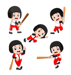 the various positions of the baseball player vector image