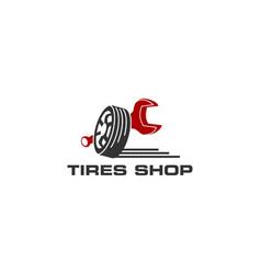 Tires shop logo design template silhouette tire vector