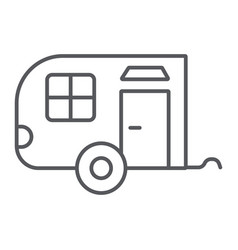 trailer thin line icon car and travel vehicle vector image