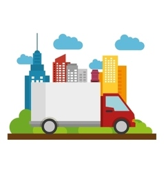 truck delivery business town icon vector image