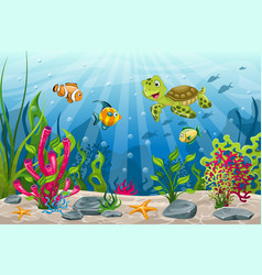 underwater landscape with turtle and fish vector image