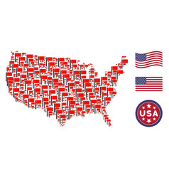 united states map mosaic of flag vector image