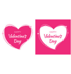 valentines day card design set heart pink frame vector image