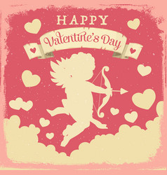 Valentines day cupid with love arrows and hearts vector