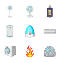 Ventilation icons set cartoon style vector