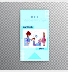 Vertical banner - back to school and sale flat vector