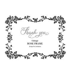 wedding black frame roses vector image